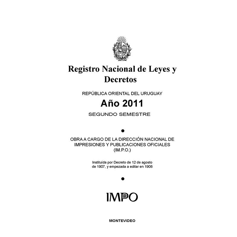 Registro Nacional de Leyes y Decretos. Segundo semestre 2011