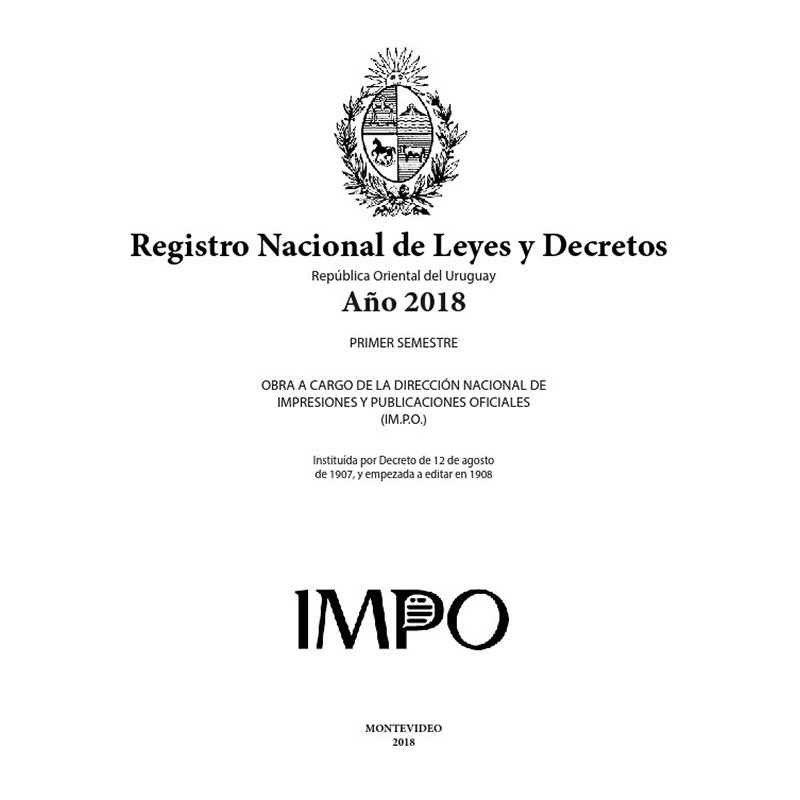 Registro Nacional de Leyes y Decretos. Primer semestre 2018