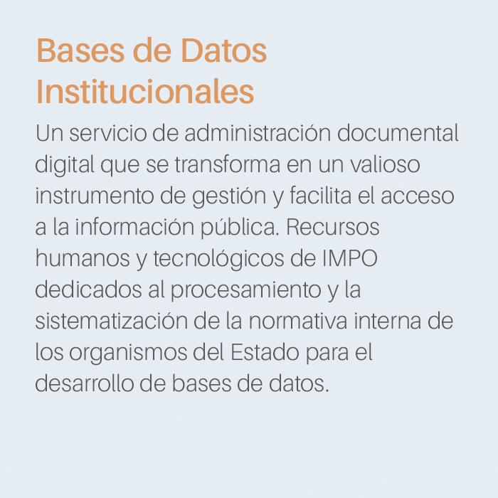 Producto Base de datos Institucional