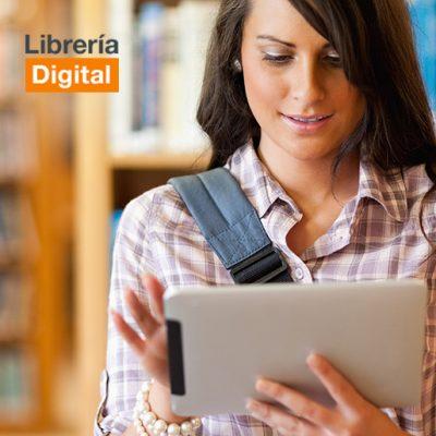 Estudiante Leyendo Desde Tablet En Una Biblioteca (formato Cuadrado)